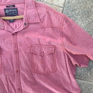 American Rag Short Sleeve Button Down Red